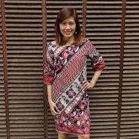 Dress Chamelia Batik Sarung Parang Mix Maroon