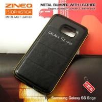 Samsung Galaxy S6 Edge Hybrid Metal Aluminium Bumper Leather Back