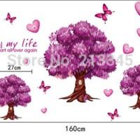 WALLSTICKER WALL STIKER 60X90 POHON OAK UNGU PURPLE TREE RUMAH POHON