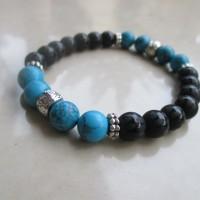 Gelang Black Onyx Matte Motif Turquoise Opaque/ Pirus Biru