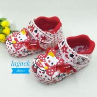 Sepatu anak perempuan 1 2 3tahun MERAH Renda karakter BUNYI TOET DERM