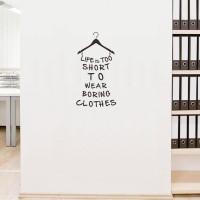 Sticker Dinding Kaca Kamar Dress Wanita Boring Clothes Wall Stiker
