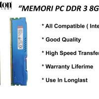 Memori/Ram Pc Kingston Hyper Ddr3 8gb