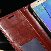 LEATHER CASE SAMSUNG GALAXY S6 FLAT FLIP COVER WALLET CASING KULIT