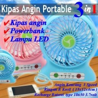 [POWER BANK] KIPAS ANGIN / PORTABLE KIPAS MINI 3IN1 POW Berkualitas