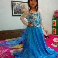 Elsa Dress Frozen gaun anak panjang biru baju kostum princess pesta