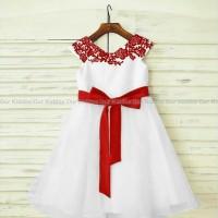 harga Dress Bunga Brukat Merah Pita Putih Clok66jssz Tokopedia.com