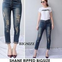Celana 7/9 Jeans Wanita Shane Sobek Ripped Brown Tint Skinny Big Size