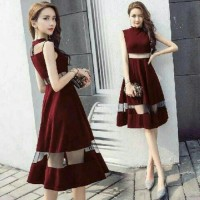 harga Tile Wedges Dress Pesta Cantik Dress Natal Cantik Tokopedia.com
