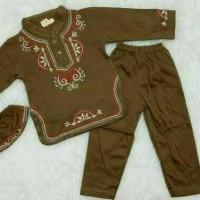 baju gamis bayi laki laki pakaian koko muslim anak cowok bordir