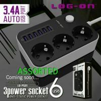 harga Charger Adapter Log On Lo-ps01 3 Power Socket+6port Usb 3.4a Auto Usb Tokopedia.com