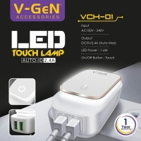 harga Wall Charger 2 Usb Port With Led Touch Lamp Vch-01 V-gen |adaptor Tokopedia.com