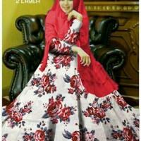 Syari Marissa Merah Busana Muslim Modern Gamis Syar i Kekinian