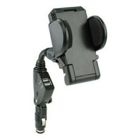 car holder + charger/chasan dual usb smartphone/hp di mobil/iphone/dll