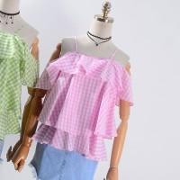 Jual kemeja jeans atasan biru bungan kaos fashion wanita import dress korea Murah