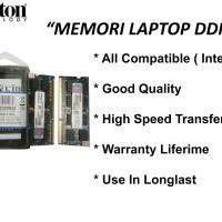 Jual Memori Laptop DDR3 2GB KINGSTON pc3- 10600 Original Murah