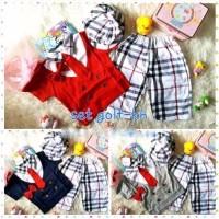 Setelan Baju Anak Bayi laki Lucu 2 Dasi + Topi - Thomas