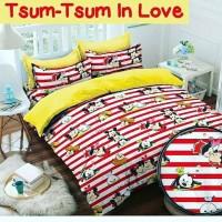 Jual Sencung Babywear/ Tsum-tsum in Love Red/ Sprei Katun Lokal Halus Murah