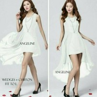 Dress Midi/Mini/Gaun Putih Polos Wedges Pinguin Modern Elegant Cute