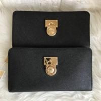 Dompet Michael Kors Original / MK Hamilton Wallet Zip Saffiano Black