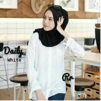 blouse delia white / baju putih atasan wanita cantik hits kekinian