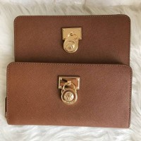 Dompet Michael Kors Original / MK Hamilton Wallet Zip Saffiano Luggage