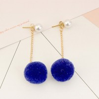 Anting Tassel Pom-Pom Dark Blue Biru Fashion Hijab Cantik Simple Keren
