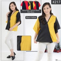 Blouse Cotton - Half Sleeve ( Model Warna Silang Kekinian )