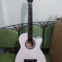 Gitar Akustik Warna Putih Jakarta Murah Bonus Pick