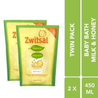 Zwitsal Baby Bath Natural With Milk And Honey Pouch 450 ml - Twin Pack