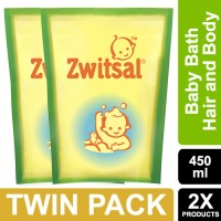 Zwitsal Baby Bath 2in1 Hair&Body Natural Pouch 450ml - Twin Pack