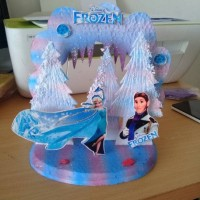 Background kue ulang tahun frozen 18 x 22 cm styrofoam