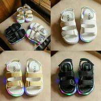 Sz 21-30 Sepatu Sandal Anak Lampu Led Import Model Kulit -3 Warna