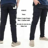 Jual men chino cargo navy pants Original Murah