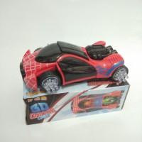 Mainan Mobil Spiderman / Iron Man Bump & Go (B/O) 3D Light