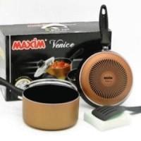 MAXIM VENICE SET (PANCI 17cm+TUTUP KACA+WAJAN 2 alat , peralatan masak