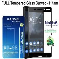 Full Tempered Glass Ranmel Nokia 6 Anti Gores Screen Protector - Hitam