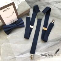 Jual suspender bretel navy biru dongker + bowtie dasi kupu navy Murah