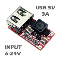 6-24V 12V/24V to 5V USB DC-DC Buck Converter Step Down Power Module
