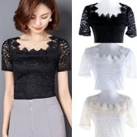 IMPORT Lace blouse Atasan Hitam Putih Cream Kebaya Pesta Brukat Renda
