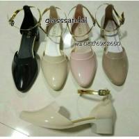 wedges jelly shoes tali emas - sandal pesta wanita