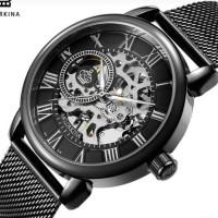 ORKINA Jam Tangan Skeleton Dial Teknik Jam pria stainless steel