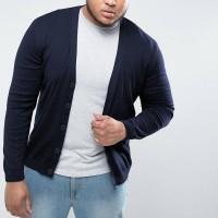 RICO JUMBO Cardigan Rajut V Neck Fashion BIG SIZE Pria Okechuku