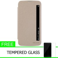 Nillkin Sparkle Leather Case LG K10 - Emas + Free Tempered Glass