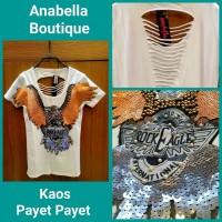 Kaos T- Shirt Wanita Gambar Payet Rock Eagle IMPORT Ready Stock