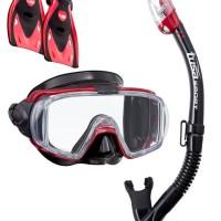 TUSA Mask+Snorkel+Fin Visio Tri-Ex Adut Travel Set UP-3521QB MDR Dive
