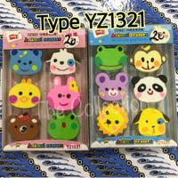 (Sale) Type YZ1321 Penghapus Motif Hewan isi 6 pcs animal eraser