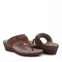 Sandal Wanita Casual Murah Jepit / Sandal Carvil Cosher-01 L Dk. Brown