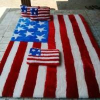 karpet karakter rasfur motif bendera amerika / surpet lantai set biasa