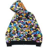 Bape Multi Camo Shark Full Zip Hoodie, Black